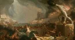 """Thomas Cole, """"La distruzione dell'Impero romano"""" (particolare), 1836 (New York, Historical Society). Il dipinto, allegorico, è ispirato al sacco di Roma del 455 a opera dei Vandali"""